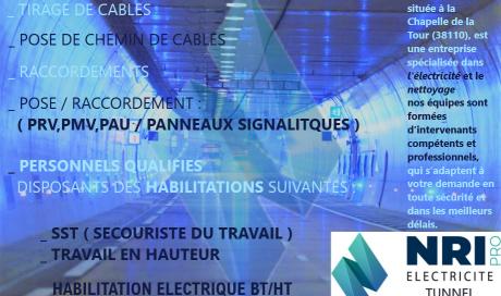 Nettoyage et électricité industrielle tunnel